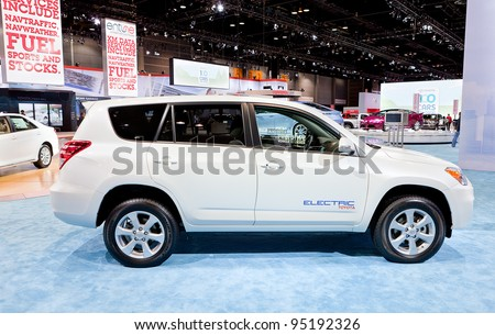 CHICAGO - FEB 9: A prototype Toyota RAV 4 electric vehicle display at the 2012 Chicago Auto Show Media Preview on February 9, 2012 in Chicago, Illinois. - stock photo