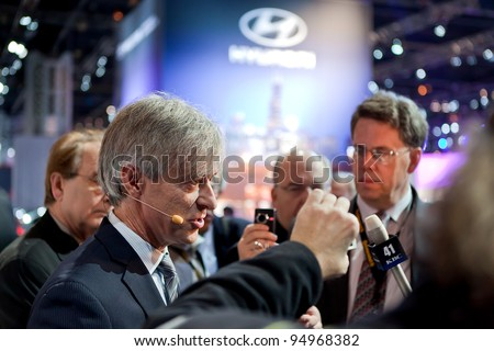 CHICAGO - FEB 8: Hyundai North American CEO John Krafcik talks to the press at the 2012 Chicago Auto Show Media Preview on February 8, 2012 in Chicago, Illinois.