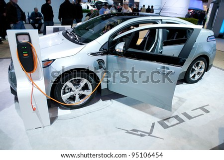 CHICAGO - FEB 12: The 2013 Chevrolet Volt on display at the 2012 Chicago Auto Show. February 12, 2012 in Chicago, Illinois. - stock photo