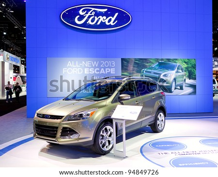 CHICAGO - FEB 9: The 2013 Ford Escape on display at the 2012 Chicago Auto Show Media Preview on February 9, 2012 in Chicago, Illinois. - stock photo