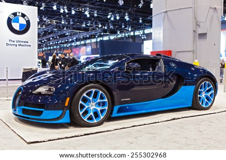 Chicago - February 13: A Bugati Veyron Vitesse on display February 13th, 2015 at the 2015 Chicago Auto Show in Chicago, Illinois. - stock photo