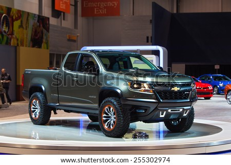 Chicago - February 13: A Chevy Colorado pickup on display February 13th, 2015 at the 2015 Chicago Auto Show in Chicago, Illinois. - stock photo