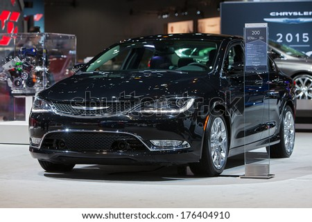 CHICAGO - FEBRUARY 7 : A 2015 Chrysler 200 on display at the Chicago Auto Show media preview February 7, 2014 in Chicago, Illinois. - stock photo