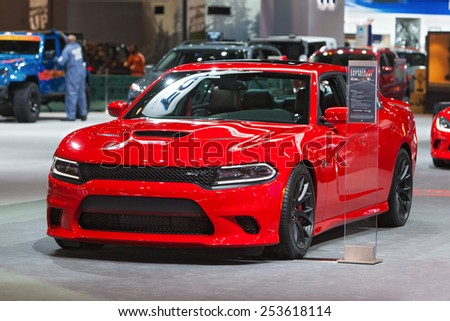 Chicago - February 13: A Dodge Charger SRT Hellcat on display February 13th, 2015 at the 2015 Chicago Auto Show in Chicago, Illinois. - stock photo