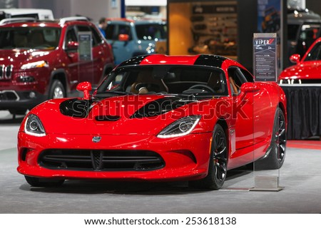 Chicago - February 13: A Dodge Viper on display February 13th, 2015 at the 2015 Chicago Auto Show in Chicago, Illinois. - stock photo