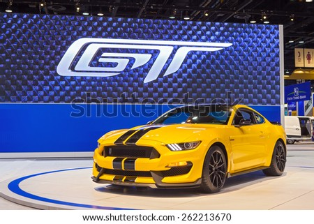 Chicago - February 12: A Ford Mustang GT350 on display February 12th, 2015 at the 2015 Chicago Auto Show in Chicago, Illinois. - stock photo
