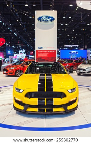 Chicago - February 13: A Ford Mustang Shelby Cobra 350GT on display February 13th, 2015 at the 2015 Chicago Auto Show in Chicago, Illinois. - stock photo
