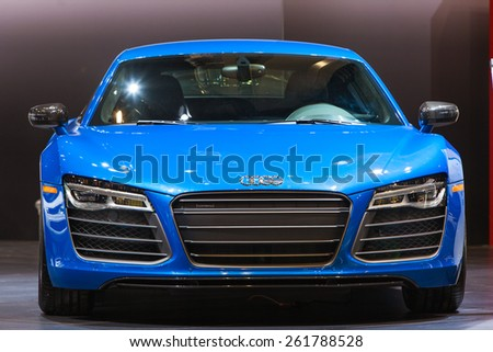 Chicago - February 12: A front view of the Audi R8 February 12th, 2015 at the 2015 Chicago Auto Show in Chicago, Illinois. - stock photo