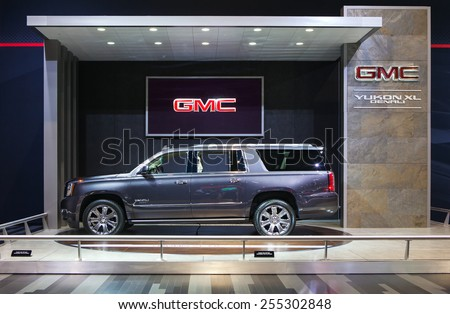 Chicago - February 13: A GMC Yukon XL Denali on display February 13th, 2015 at the 2015 Chicago Auto Show in Chicago, Illinois. - stock photo