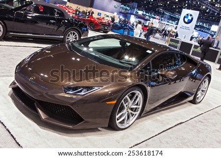 Chicago - February 13: A Lamborghini Huracan on display February 13th, 2015 at the 2015 Chicago Auto Show in Chicago, Illinois. - stock photo