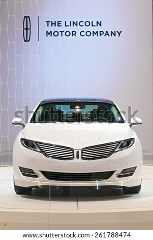 Chicago - February 12: A Lincoln MKC on display February 12th, 2015 at the 2015 Chicago Auto Show in Chicago, Illinois. - stock photo