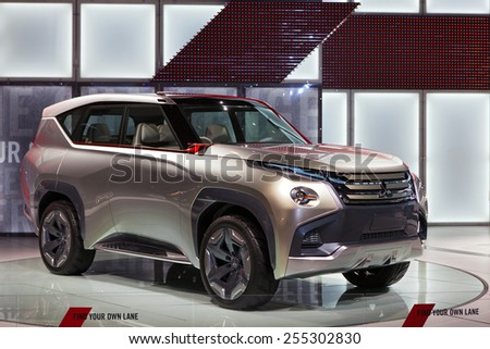 Chicago - February 13: A Mitsubushi concept SUV on display February 13th, 2015 at the 2015 Chicago Auto Show in Chicago, Illinois. - stock photo