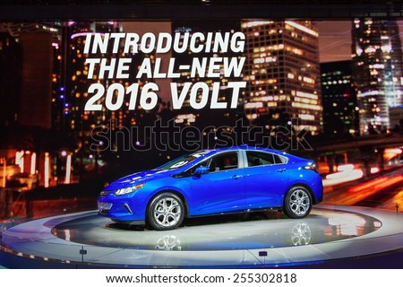 Chicago - February 13: A new Chevy Volt on display February 13th, 2015 at the 2015 Chicago Auto Show in Chicago, Illinois. - stock photo