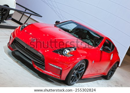 Chicago - February 13: A Nissan Nismo 370z on display February 13th, 2015 at the 2015 Chicago Auto Show in Chicago, Illinois. - stock photo