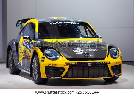 Chicago - February 13: A Volkswagen Beetle race car on display February 13th, 2015 at the 2015 Chicago Auto Show in Chicago, Illinois. - stock photo