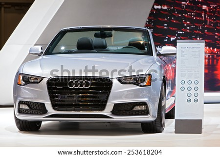 Chicago - February 13: An Audi A5 Cabriolet on display February 13th, 2015 at the 2015 Chicago Auto Show in Chicago, Illinois. - stock photo