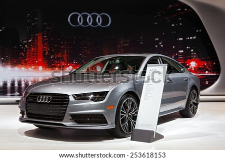 Chicago - February 13: An Audi A7 on display February 13th, 2015 at the 2015 Chicago Auto Show in Chicago, Illinois.