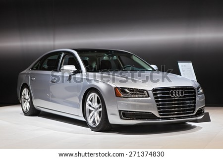 Chicago - February 12: An Audi A8 on display February 12th, 2015 at the 2015 Chicago Auto Show in Chicago, Illinois. - stock photo