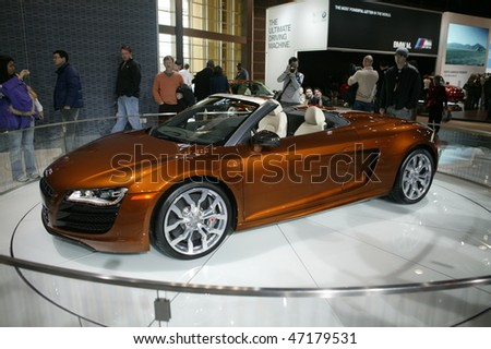 CHICAGO - FEBRUARY 13: Audi R8 presentation at the Annual Chicago Auto Show February 13 2010 in Chicago, IL. - stock photo