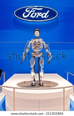 Chicago - February 13: Ford Motor Companies Hank the robot February 13th, 2015 at the 2015 Chicago Auto Show in Chicago, Illinois. - stock photo