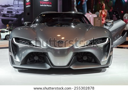 Chicago - February 13:Front view of the Toyota FT-1 concept vehicle February 13th, 2015 at the 2015 Chicago Auto Show in Chicago, Illinois. - stock photo