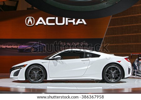 CHICAGO - February 11: The 2017 Acura NSX on display at the Chicago Auto Show media preview February 11, 2016 in Chicago, Illinois. - stock photo