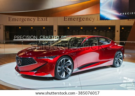 CHICAGO - February 11: The Acura Precision Concept on display at the Chicago Auto Show media preview February 11, 2016 in Chicago, Illinois.