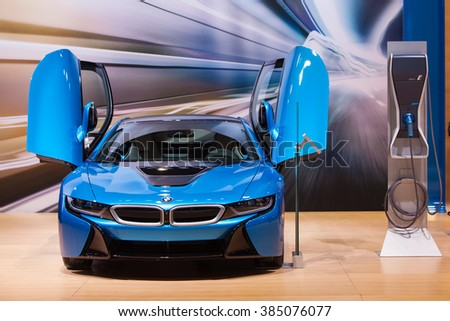 CHICAGO - February 11: The BMW i8 on display at the Chicago Auto Show media preview February 11, 2016 in Chicago, Illinois.