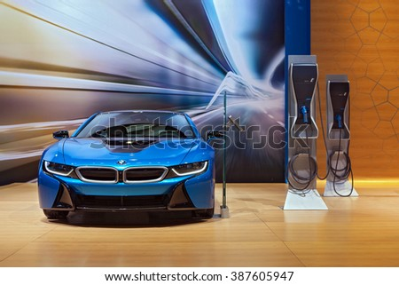 CHICAGO - February 12: The 2017 BMW i8 on display at the Chicago Auto Show media preview February 12, 2016 in Chicago, Illinois.