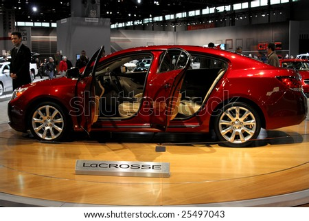 CHICAGO - FEBRUARY 18 :the 2010 Buick LaCrosse luxury sedan is scheduled for production this summer, it will Available in three models - CX, CXL and CXS. Displayed at the Autoshow 2009 on Febraury 18, 2009 in Chicago,IL - stock photo