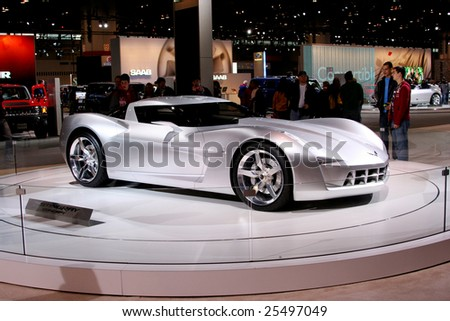 CHICAGO-FEBRUARY 18:the Chevrolet Sting Ray concept with futuristic vision plays the role of Sideswipe in the upcoming film Transformers II. Displayed at the Chicago Auto Show 2009 on Febraury 18, 2009 - stock photo