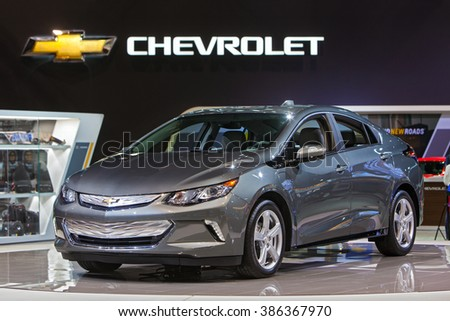 CHICAGO - February 11: The 2017 Chevy Volt on display at the Chicago Auto Show media preview February 11, 2016 in Chicago, Illinois. - stock photo