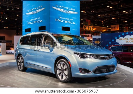 CHICAGO - February 11: The 2017 Chrysler Pacifica on display at the Chicago Auto Show media preview February 11, 2016 in Chicago, Illinois.