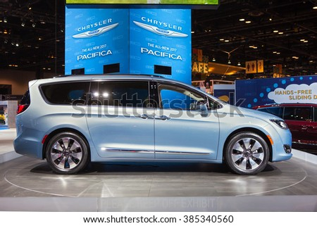CHICAGO - February 11: The 2017 Chrysler Pacifica on display at the Chicago Auto Show media preview February 11, 2016 in Chicago, Illinois. - stock photo