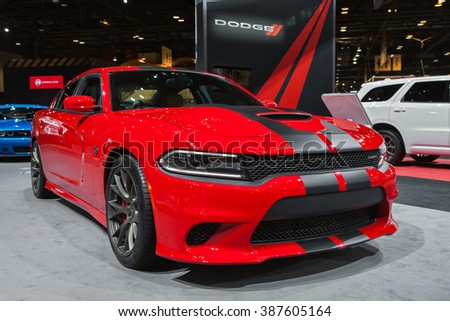 CHICAGO - February 12: The 2017 Dodge Charger Hellcat on display at the Chicago Auto Show media preview February 12, 2016 in Chicago, Illinois. - stock photo