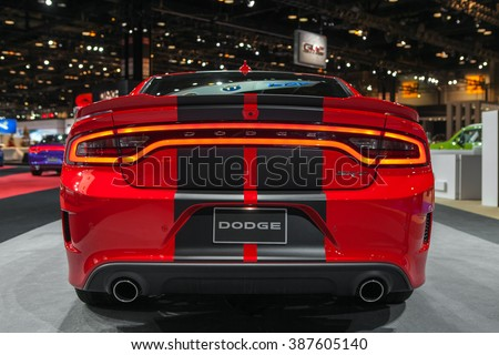 CHICAGO - February 12: The 2017 Dodge Charger SRT Hellcat on display at the Chicago Auto Show media preview February 12, 2016 in Chicago, Illinois. - stock photo
