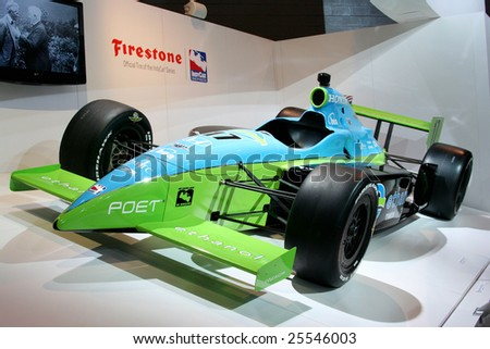 CHICAGO, FEBRUARY 18, 2009: The F1 Honda car was displayed at the Chicago 2009 Auto Show, it has an aerodynamic layout and mechanical structure. - stock photo