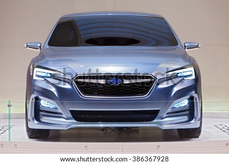 CHICAGO - February 11: The front view of the Subaru Impreza 5-Door concept at the Chicago Auto Show media preview February 11, 2016 in Chicago, Illinois. - stock photo