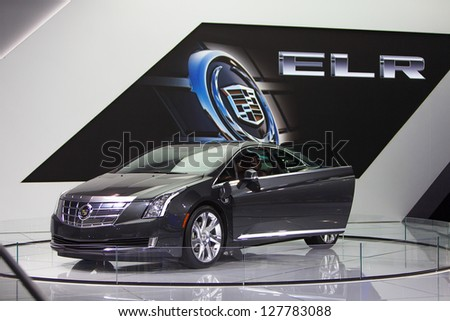CHICAGO - FEBRUARY 8 : The new Cadillac ELR on display at the Chicago Auto Show media preview February 8, 2013 in Chicago, Illinois. - stock photo
