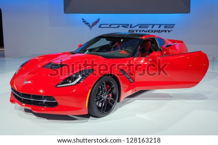 CHICAGO - FEBRUARY 7 : The new 2014 Corvette Stingray on display at the Chicago Auto Show media preview February 7, 2013 in Chicago, Illinois. - stock photo