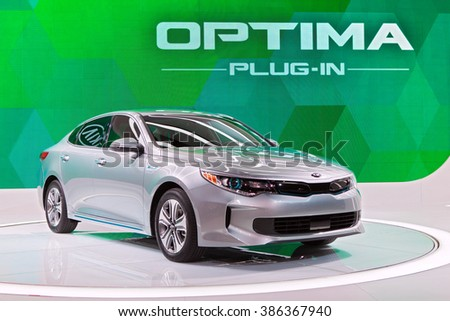 CHICAGO - February 11: The new Kia Optima Plug-in on display at the Chicago Auto Show media preview February 11, 2016 in Chicago, Illinois. - stock photo