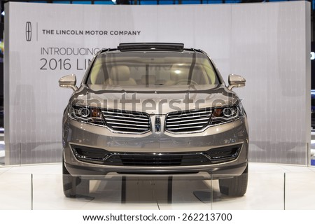Chicago - February 12: The new 2016 Lincoln MKX on display February 12th, 2015 at the 2015 Chicago Auto Show in Chicago, Illinois. - stock photo