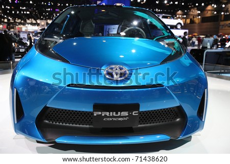CHICAGO - FEBRUARY 15: The Toyota Prius-C presentation at the Annual Chicago Auto Show on February 15, 2011 in Chicago, IL. - stock photo