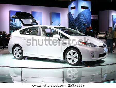 CHICAGO - FEBRUARY 18 : The 2009 Toyota PRIUS has been rated the best-selling gas-electric hybrid vehicle in the United States, displayed at the Auto Show in Chicago, IL .February 18, 2009 - stock photo