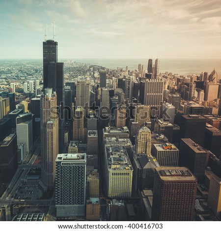 Chicago financial district- aerial view with desaturated colors