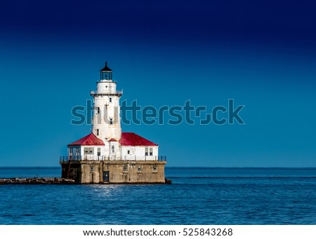 Chicago Harbor Light house against Clear Blue Sky