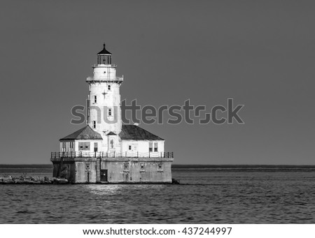Chicago Harbor Light on Lake Michigan in Black and White