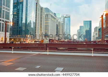 CHICAGO, IL - CIRCA APRIL, 2016: Chicago at twilight. Chicago is the third most populous city in the United States - stock photo