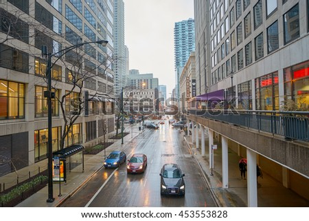 CHICAGO, IL - CIRCA APRIL, 2016: rainy day in Chicago. Chicago is the third most populous city in the United States.