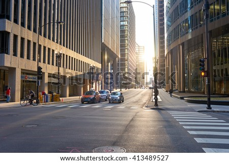 "CHICAGO, IL - CIRCA APRIL, 2016: streets of Chicago at daytime. Chicago, colloquially known as the ""Windy City"", is the third most populous city in the USA, following New York and Los Angeles"